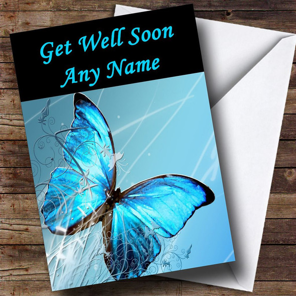 Blue Butterfly Personalised Get Well Soon Card