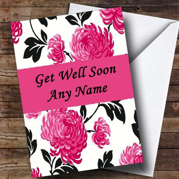 Beautiful Black White & Pink Vintage Floral Personalised Get Well Soon Card