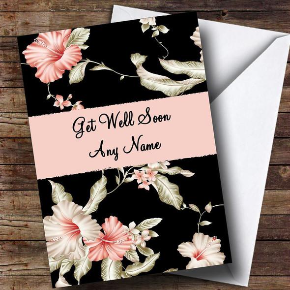 Stunning Black Vintage Floral Personalised Get Well Soon Card