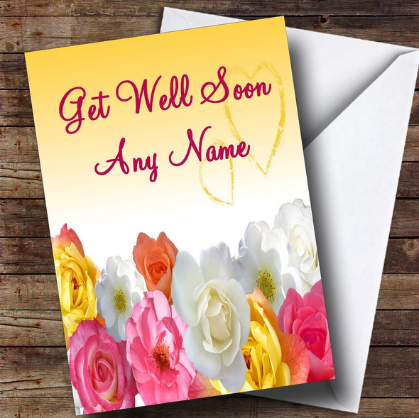 Yellow Flowers Personalised Get Well Soon Card