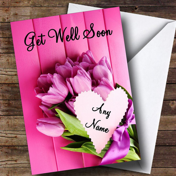 Pink Bunch Of Flowers Personalised Get Well Soon Card