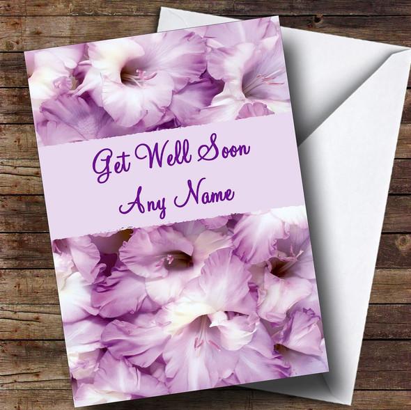 Stunning Purple Petals Personalised Get Well Soon Card