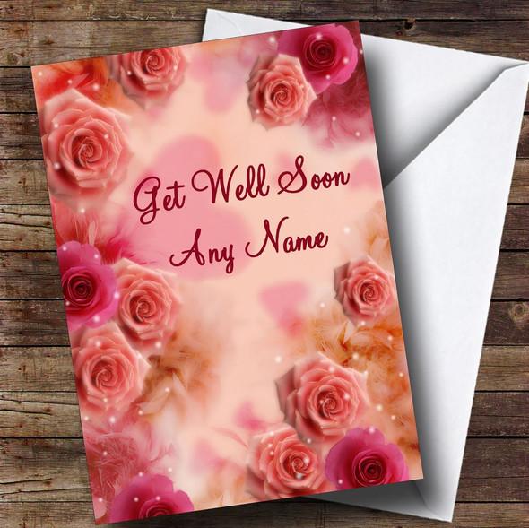 Pretty Pink Flowers Personalised Get Well Soon Card