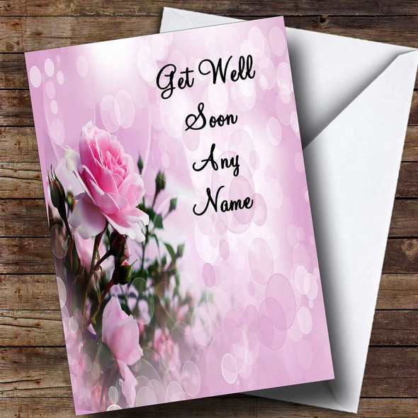 Pale Pretty Pink Rose Personalised Get Well Soon Card