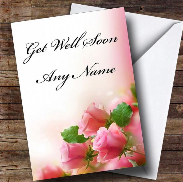 Cute Pink Roses Personalised Get Well Soon Card