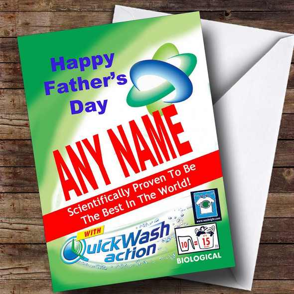 Funny Joke Spoof Washing Powder Personalised Father's Day Card