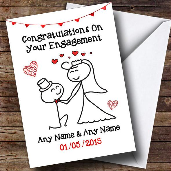 Doodle Cute Kneeling Groom Personalised Engagement Card