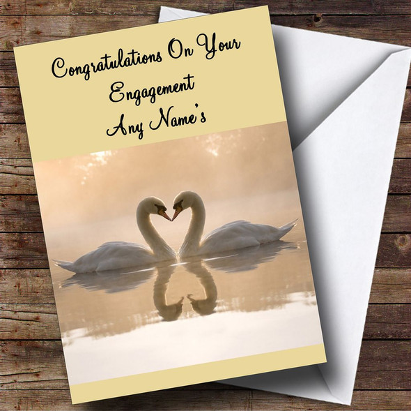 Romantic Swans Personalised Engagement Card