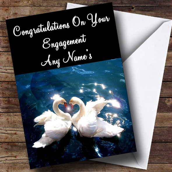 Swans Personalised Engagement Card