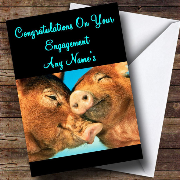 Snuggly Pigs Personalised Engagement Card