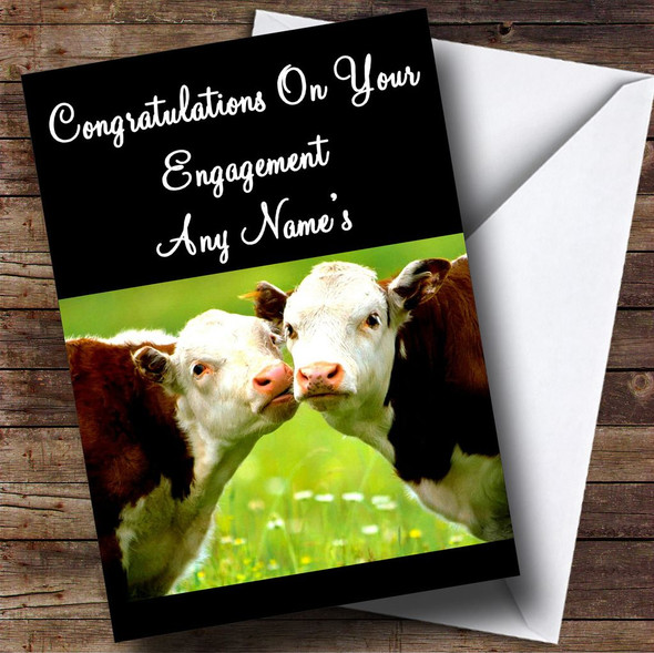 Cows Kissing Personalised Engagement Card