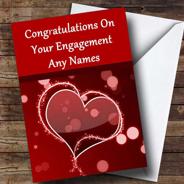 Red Love Heart Romantic Personalised Engagement Card