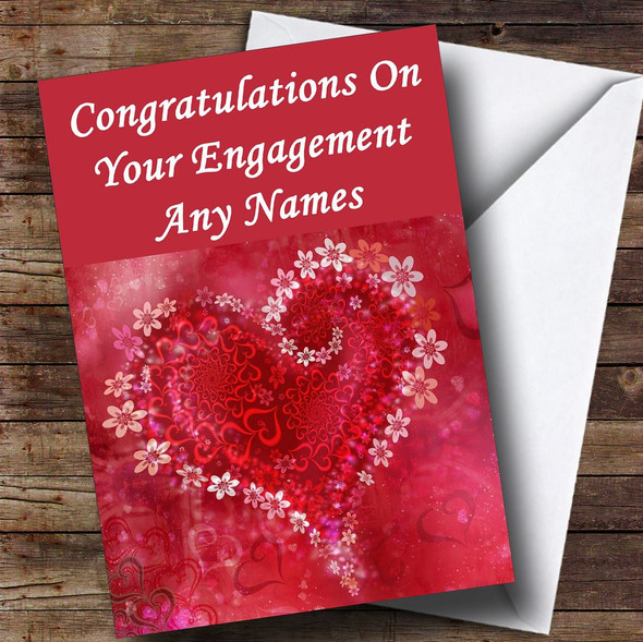Red Flower Love Heart Romantic Personalised Engagement Card