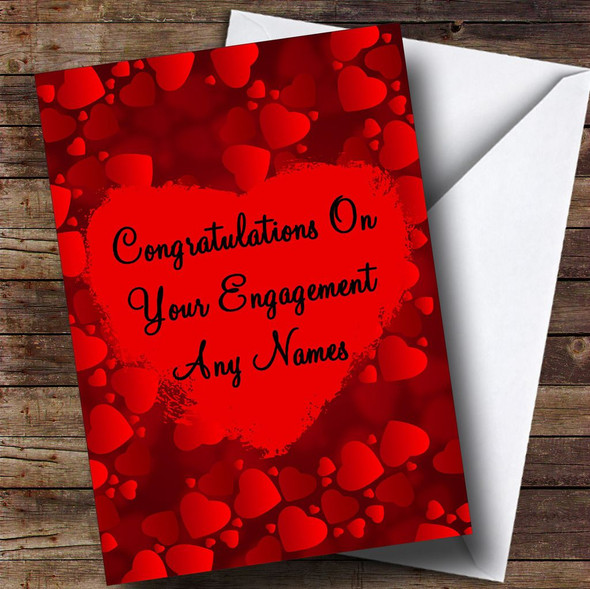 Red Love Hearts Romantic Personalised Engagement Card