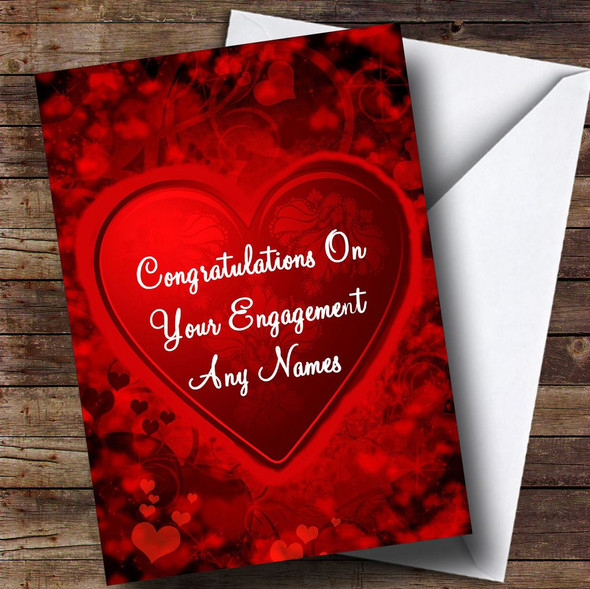 Red And Black Love Heart Romantic Personalised Engagement Card