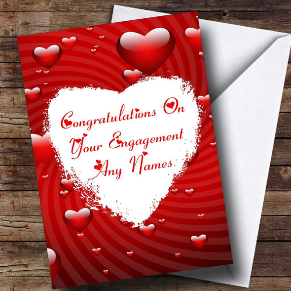 White Love Heart Romantic Personalised Engagement Card