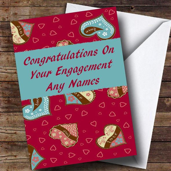 Love Hearts Romantic Personalised Engagement Card