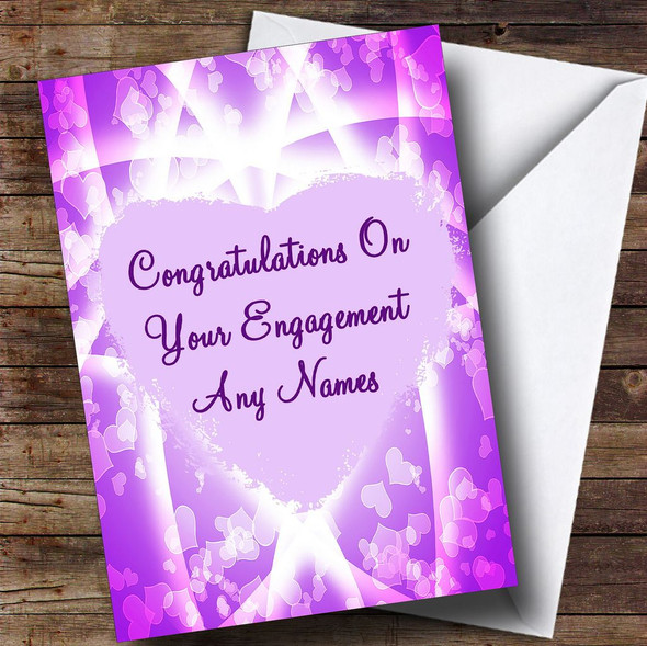 Pink & Purple Hearts Romantic Personalised Engagement Card
