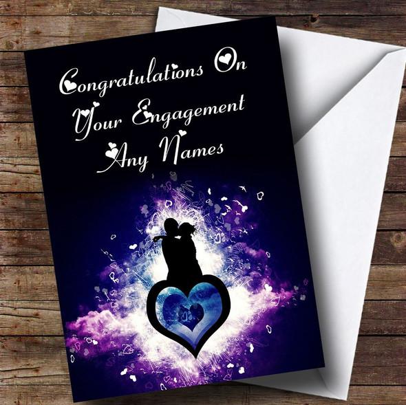 Purple Lovers Romantic Personalised Engagement Card