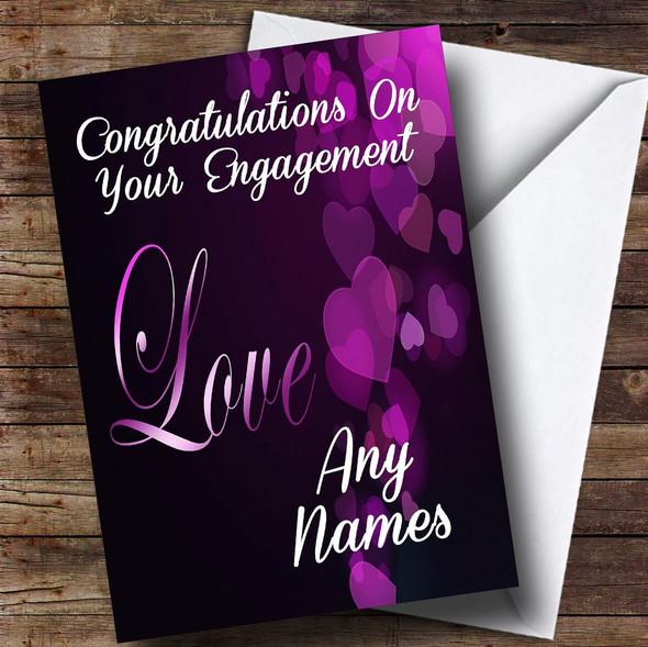 Gorgeous Purple Love Romantic Personalised Engagement Card