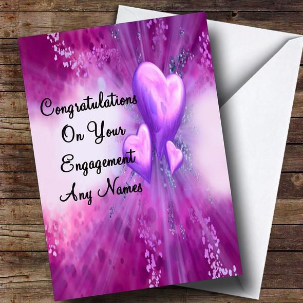 Purple Hearts Romantic Personalised Engagement Card