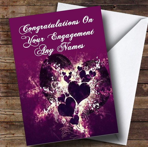 Purple Hearts And Swirls Romantic Personalised Engagement Card