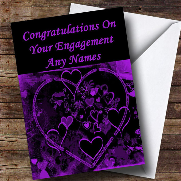 Purple And Black Love Heart Romantic Personalised Engagement Card