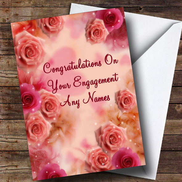 Pretty Pink Flowers Romantic Personalised Engagement Card