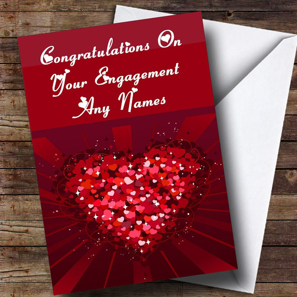 Pink And Red Love Hearts Romantic Personalised Engagement Card