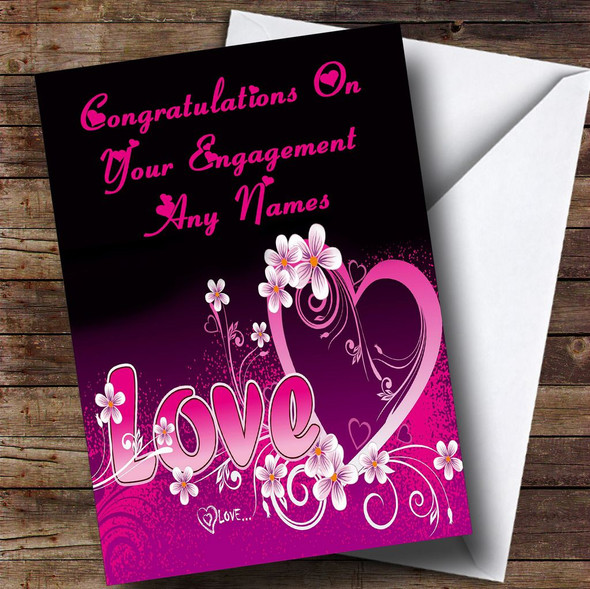 Pink Love Romantic Personalised Engagement Card