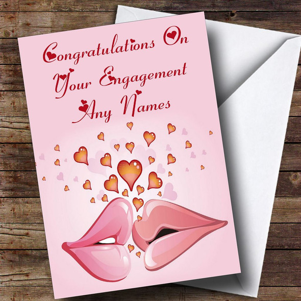 Pink Lips Romantic Personalised Engagement Card