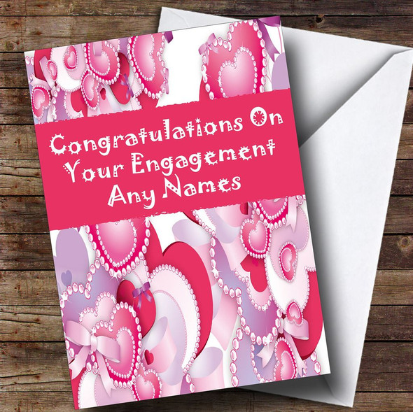 Pink And Lilac Hearts Romantic Personalised Engagement Card