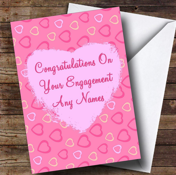 Pretty Pink Love Hearts Romantic Personalised Engagement Card