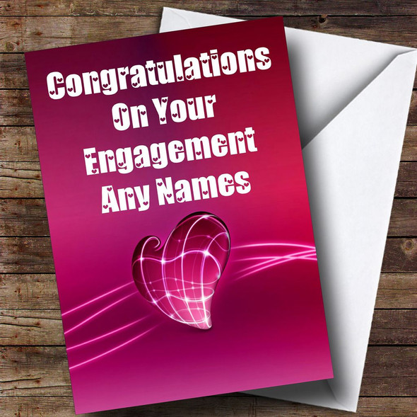 Electric Pink Heart Romantic Personalised Engagement Card