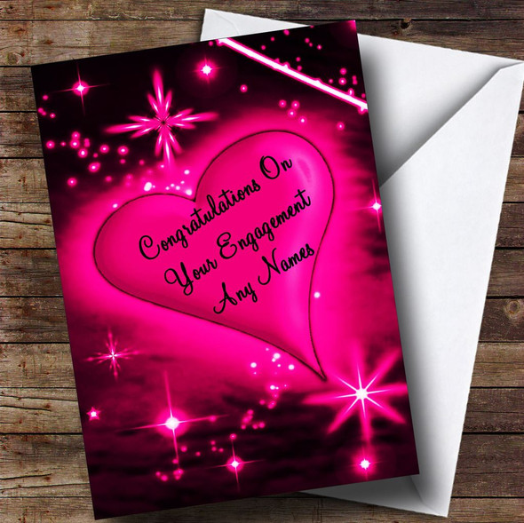 Hot Pink Love Heart Romantic Personalised Engagement Card