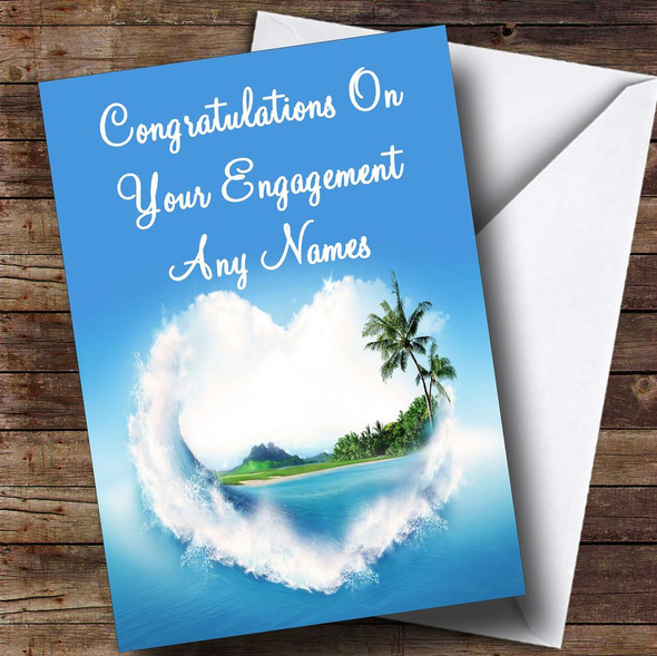 Palm Tree Love Beach Romantic Personalised Engagement Card