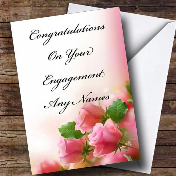 Cute Pink Roses Romantic Personalised Engagement Card