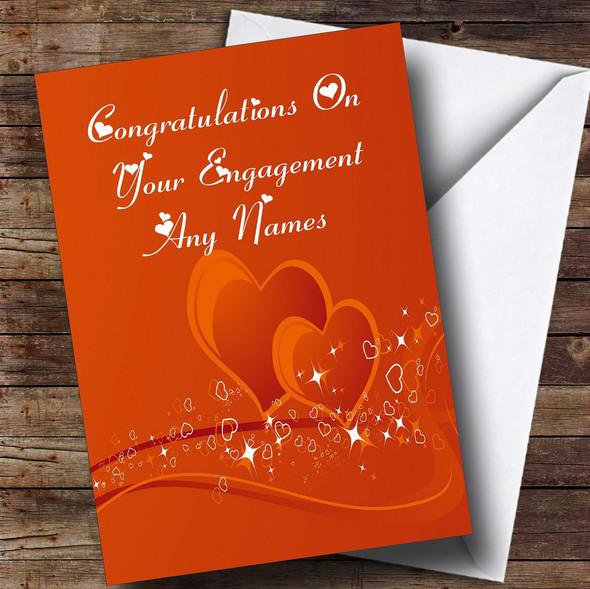 Orange Love Heart Romantic Personalised Engagement Card