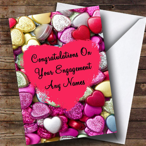 Love Heart Charms Romantic Personalised Engagement Card