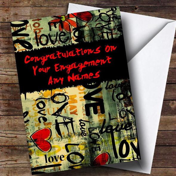 Love Graffiti Romantic Personalised Engagement Card