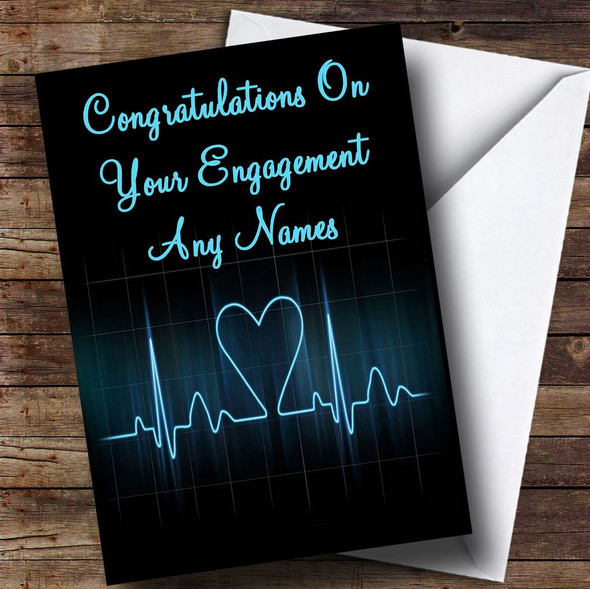 Heart Beat Monitor Romantic Personalised Engagement Card