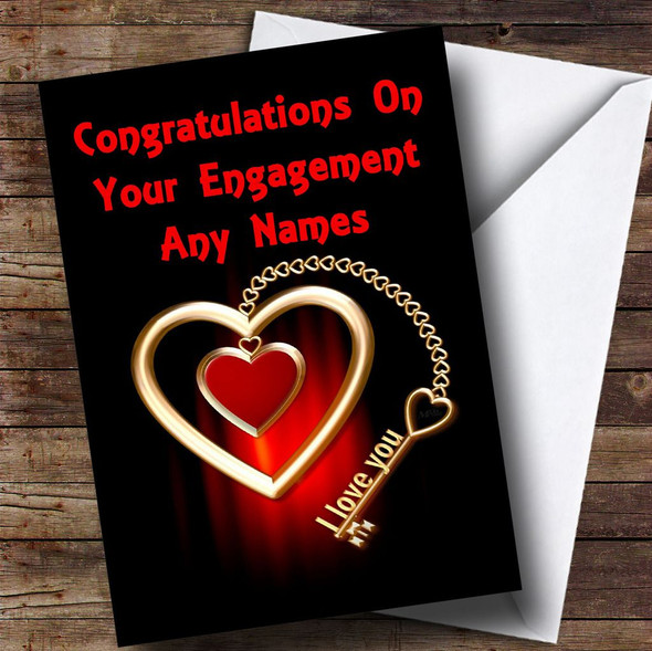 Key To My Heart Romantic Personalised Engagement Card