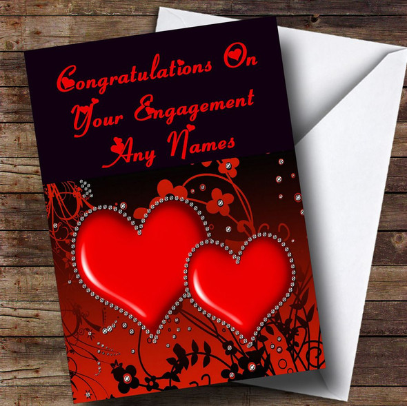 Red Diamond Heart Romantic Personalised Engagement Card