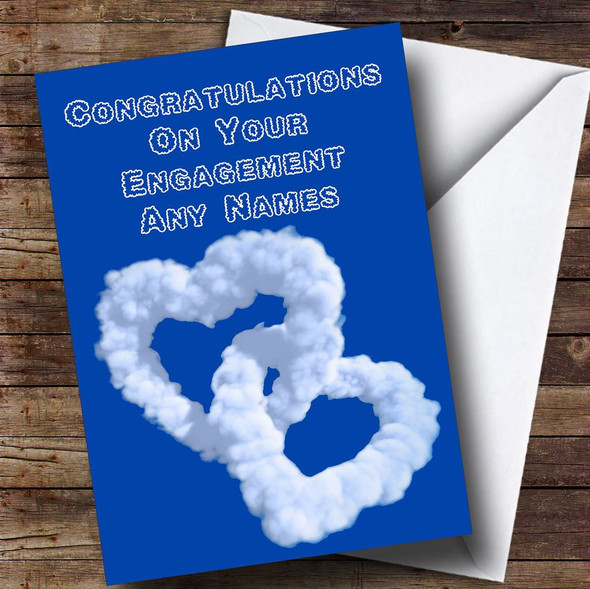 Love Heart Clouds Romantic Personalised Engagement Card