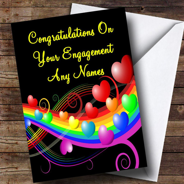 Rainbow And Hearts Romantic Personalised Engagement Card
