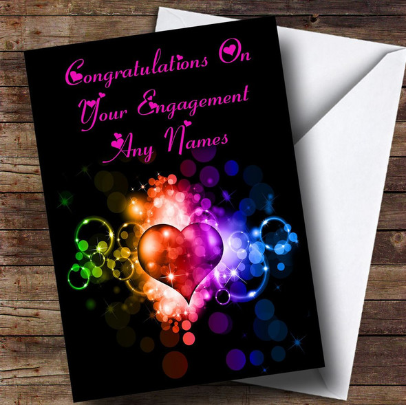 Colourful Love Heart Romantic Personalised Engagement Card