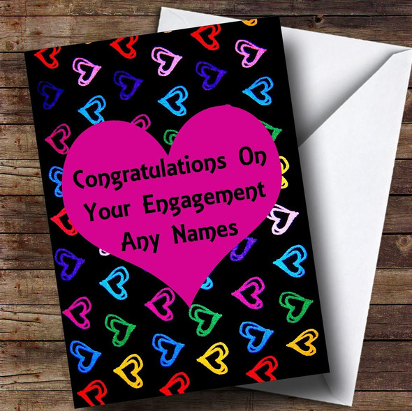 Multi-coloured Love Hearts Romantic Personalised Engagement Card
