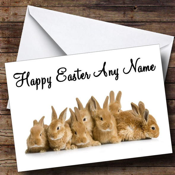 Lots Of Bunny Rabbits Personalised Easter Card