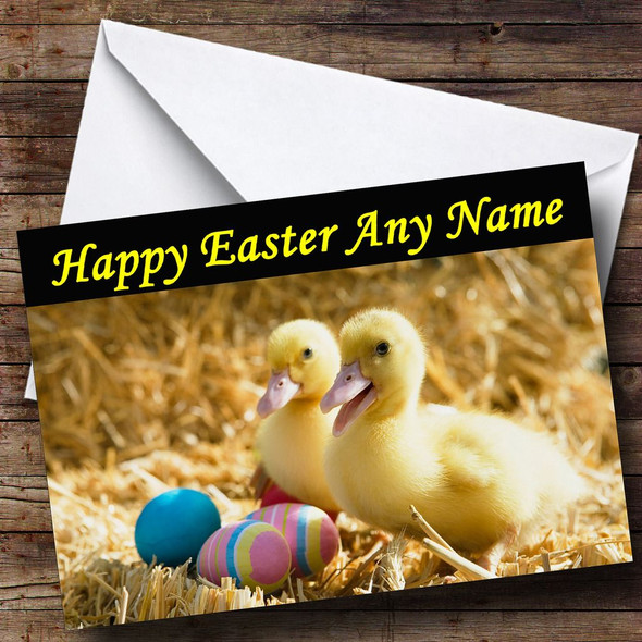 Ducklings And Easter Eggs Personalised Easter Card