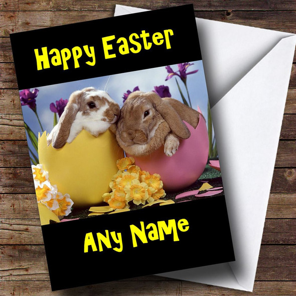 Bunny Rabbits In Egg Shells Personalised Easter Card